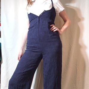 Navy blue 100% cotton jumpsuit
